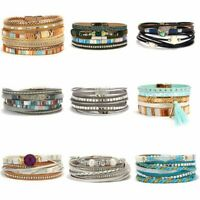New Fashion Women Multilayer Leather Magnetic  Wrap Cuff Charm Bracelet Jewelry