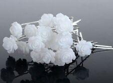 Lot de 10 épingles à chignons fleur blanche , bijou de cheveux mariage