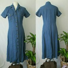 90s Denim Shirt Midi Dress True Vintage BOHO Summer Grunge Maxi Long 8 10 12