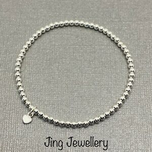 Sterling Silver 925 Heart Charm Beaded Stretch Stacking Bracelet. Handmade Gift