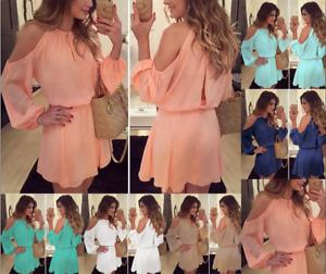 New Womens Long Sleeve Chiffon Evening Cocktail Party Casual Short Mini Dress