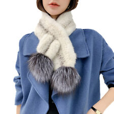 Real Mink Fur Scarf Neckerchief With Natural Silver Fox Fur Hand-Woven 95*12CM