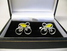 SOLID SILVER AND ENAMEL CUFFLINKS - CYCLE / BIKE DESIGN 'TOUR' YELLOW JERSEY
