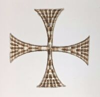 """Vintage Square Cross Embroidered Sew-on Mixed Beige 5""""1/2 Emblem Patch 2 Pcs"""