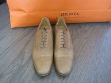 Hermes Brown Tan Oxford Flat Shoe 37.5
