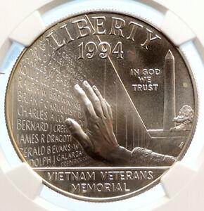 1994 P United States VIETNAM VETERANS MEMORIAL Silver Dollar Coin NGGC i95606