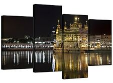 Sikh Canvas Prints of Golden Temple Amritsar for Living Room - 4 Part - B&W