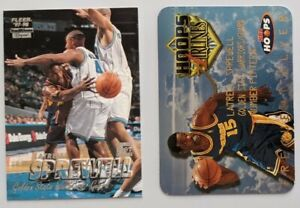 NBA trading 2 cards lot *Latrell Sprewell* NBA Hoops Frequent Flyer 1997-98