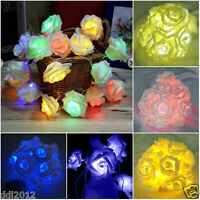 20 LED Rose Flower Fairy Lamp String Lights Garden Party Wedding Xmas Decor