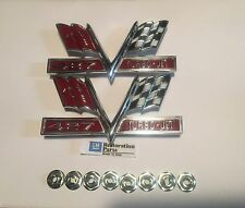 66-67 Chevy Impala SS 427 Turbo Jet Front Fender Crossflags Emblems PAIR New GM