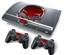 PS3 Original PlayStation 3 Skin Stickers PVC for Console & 2 Pads Red Skull