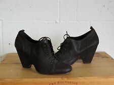 BROWN NUBUCK LEATHER WEDGE HEEL ANKLE SHOE BOOTS SIZE 5 / 38 BY PIED A TERRE