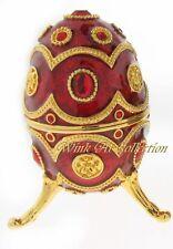 Ruby Red Egg Shaped Enameled Bejeweled Music Box