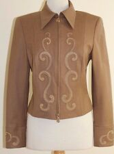 Escada Soft Brown Gold Stud Upon Leather Like Applique Zip-Up Jacket Sz 36 S