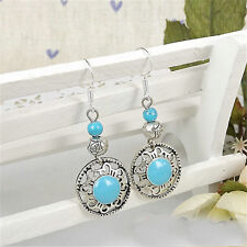 Vintage Elegant Ethnic Silver Multi-color Turquoise Beads Women Hook Earrings