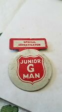 Rare Vintage Special Investigator Junior G Man Clip On Club Badge Pin HTF