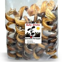 "USA Free Range 7"" - 9"" Thick Curly Bully Sticks for Dogs Odor Free Dental Chews"