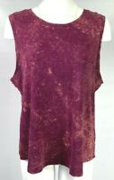 Mossimo Women's Tie Dye Sleeveless Top Size 2XL XXL Tank Top Red Burgundy A0402