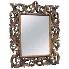 LA2/260 * Mirror Black Forest Brienz Wood Carved Antique, German, 1860s