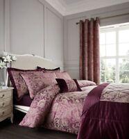 Catherine Lansfield Luxury Regal Jacquard Plum/Gold Duvet Cover Set &Accessories