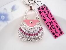 Betsey Johnson fashion jewelry Crystal handbag pendant necklace # F389