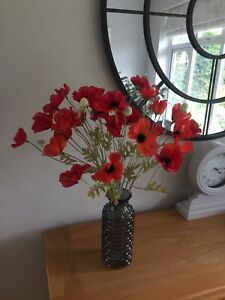 Artificial Silk Red And Orange Poppy Flowers X 6 Stems Top Quality