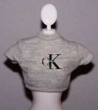 Barbie Doll Clothes Gray Calvin Klein Cropped Top Shirt - fits Fashionista Dolls