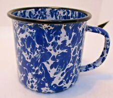 Blue and White Spongeware Metal Cup Mug Vintage ?