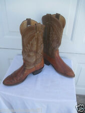 Nocona Cowboy Western Boots Exotic Lizard Burnished Leather Size 8 D