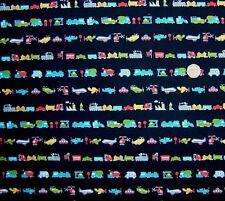Lines of transport vehicles Navy multi Fabric fq 50 x 56 cm 100% Cotton JL 86346