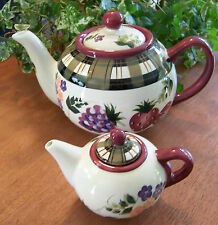 SET OF 2 Oneida Strawberry Plaid Tea Pots Teapots SINGLE MINIATURE & FULL SIZE