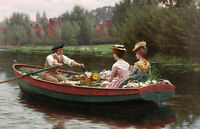 Stunning Oil painting boating man with nice young girls and spring flowers lake