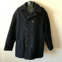 Gap Men's Wool Blend Pea Coat Quilt Stitch Insulated Lined Black XL Extra Large