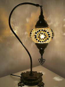 Golden Turkish Colour Moroccan Mosaic Handmade Glass Light Desk Table Lamp