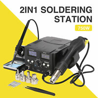 Pro 8528D+2in1 Soldering Iron Hot Air Gun SMD Power Supply Solder Kit Station