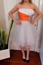 Sherri Hill Short Prom Pageant Dress White Tangerine Orange Rhinestone Size 0