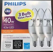 One 3-pack PHILIPS Soft White 4.5W (40W) Candelabra LED Light Bulbs. BRAND NEW