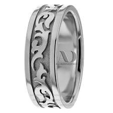 His / Her Celtic Waves Design Wedding Ring 14K White Gold Wedding Band 7mm
