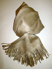 Authentic NEW COLOMBO GOLD SHINY BEIGE KNIT CASHMERE FRINGE SCARF SHAWL PASHMINA