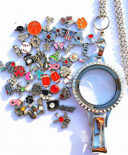 Floating Charm Lanyard With Id Badge Holder Locket Lanyard Necklace + 50 charms