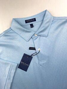 Peter Millar Crown Crafted Performance Baldwin Polo Striped Golf Blue Medium $98