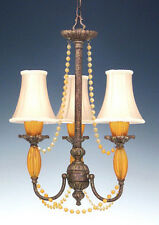 Rococo 3 Light Chandelier With Crystal Accents And Shades