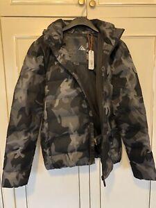 SuperDry Men's Parka, Winter Sports, Quilt Puffer, Black/grey Camouflage Size XL