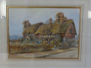 c1900 Watercolour by Ernest Potter 'Ann Hathaways Cottage' c1900 nice & bright