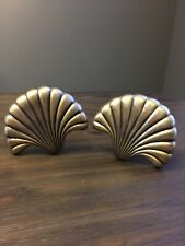 "Pair Of JC Penney Decorative Tiebacks Antique Gold Sea Shell 5.5"" x 4.5 """