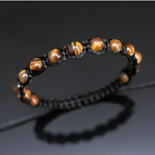 8mm Tiger's Eye Stone Adjustable Macrame Braided Boho Bracelet Men Women