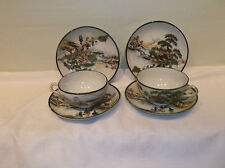A Beautiful 6 Piece Group of Japanese Handpainted Cups  and Saucers