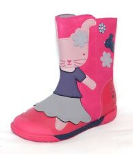 """Clarks Girls """"Nibbles Eva"""" Rabbit Design Berry Leather Boots size 7.5F.New"""