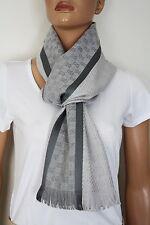 GUCCI 162226 Strickschal mit GG -Muster 35x180 cm Wolle Seide Grau NEU