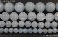 100% Natural Aquamarine Gemstone Round Beads 4mm 6mm 8mm 10mm 12mm 14mm 15.5""